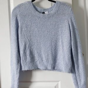 Cute fluffy baby blue cropped sweater!